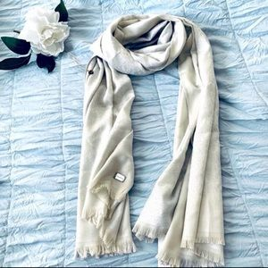 Calvin Klein Shimmering Taupe Off White Scarf Wrap